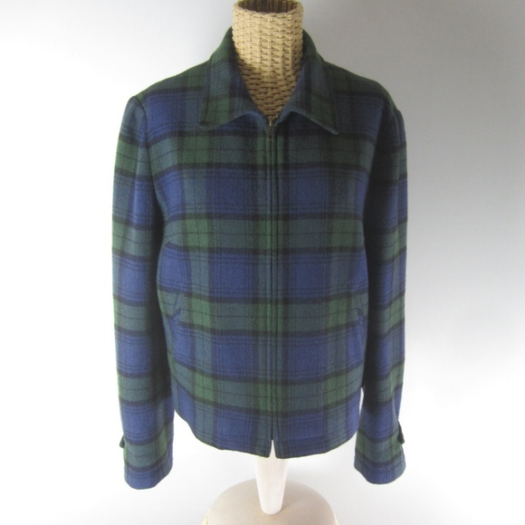 The Limited Jackets & Blazers - The Limited Small Blue Plaid Wool Jacket Bomber